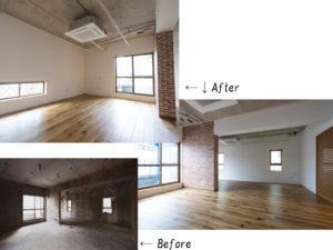 リビング。コンクリート剥き出しの天井を生かし、広々とした空間に仕上げました。