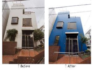 ブルーが好きなH様。外壁塗装も鮮やかなブルーにされました。