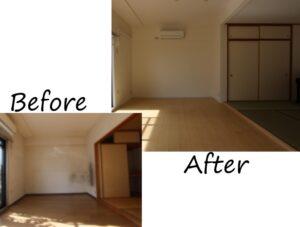 垂れ壁を撤去し、リビングから和室にかけて一体化させました。キッチンで作業していても、全体を見渡せます。